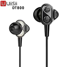 UiiSii DT800 Hi-Res Earbuds Earphones 4 Drivers Surround Sound with Mic Strong Bass and Noise Reduction Volume Control Headset for Smartphones Computer PC Tablet (Black)