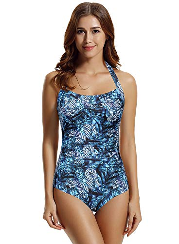 zeraca Women's Twist Tummy Control One Piece Swimsuit Bathing Suit (Tropical, X-Large 16)