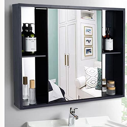 Spiegels voor badkamer dikker wandgemonteerde roestvrijstalen spiegelkast, multifunctionele opslagorganisator medicijnkastje met schuifdeur