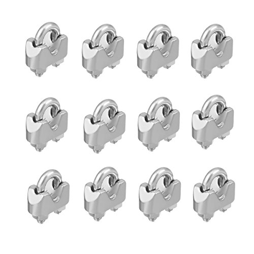 SamIdea 12-Pack 2mm 1/16 Inch Stainless Steel Wire Rope Cable Clamp Fastener Clips