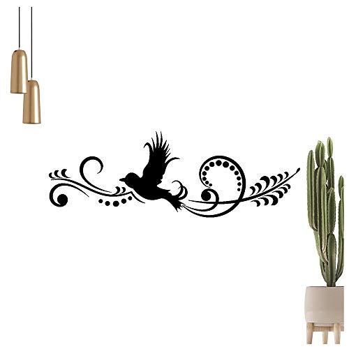 Adhesivo decorativo para pared, diseño de pájaros con flores, 6 tamaños