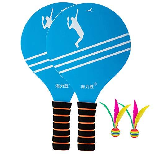 Conjunto de raquetes de raquete de madeira para raquete de raquete de raquete de praia BesPORTBLE, perfeito para crianças, praia, tênis, badminton divertido jogo de raquete (raquete e bola cada 2 peças)