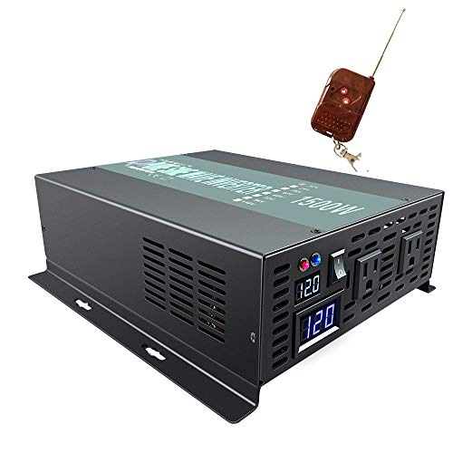 WZRELB 1500W 12V 120V Pure Sine Wave Solar Power Inverter with Remote Control Switch