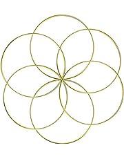 Aboat - Juego de 6 anillos de metal atrapasueños, anillo de macramé para atrapasueños y manualidades, oro, 15 cm