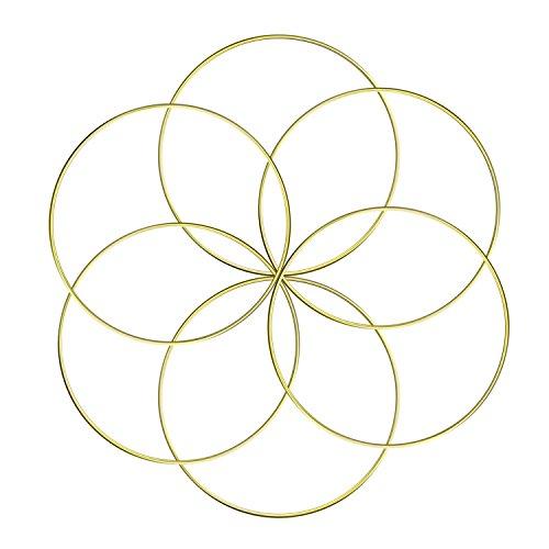 Aboat - Set di 6 anelli in metallo macramè, per acchiappasogni e artigianato, 15,2 cm, colore: Oro