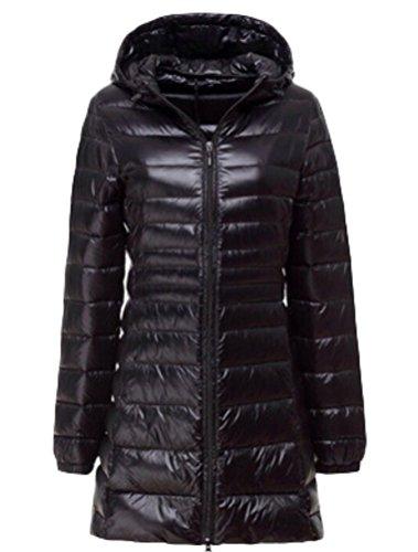 Vogstyle Mujer Abrigo Chaqueta Cazadora de Plumón Portátil Ligero de Ultra Negro S