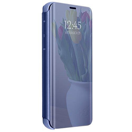 Vanki Cover Samsung Galaxy S7 Edge Clear View Standing Cover Galaxy S7 Mirror Flip Custodia Wallet Portafoglio Lusso Elegante Smart Flip Ultra Slim Case per Galaxy S7/S7 Edge (Galaxy S7 Edge, Blu)