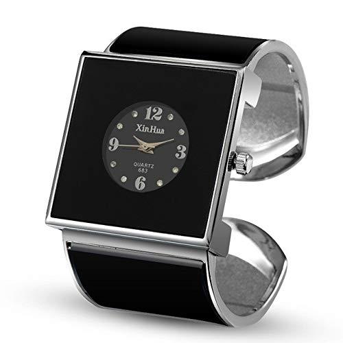 G-RF Cuadrado del dial Grande del Reloj de Pulsera de Cuarzo for Las Mujeres (Blanco) (Color : Black)