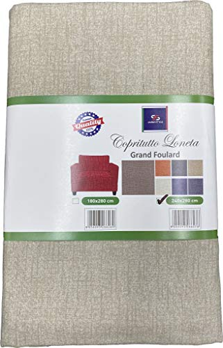 EUROSTYLE Cubresofá Gran Foulard Art. Loneta - Funda para sofá o cama - Tela de poliéster de algodón resistente (150 x 260 cm), color beige claro