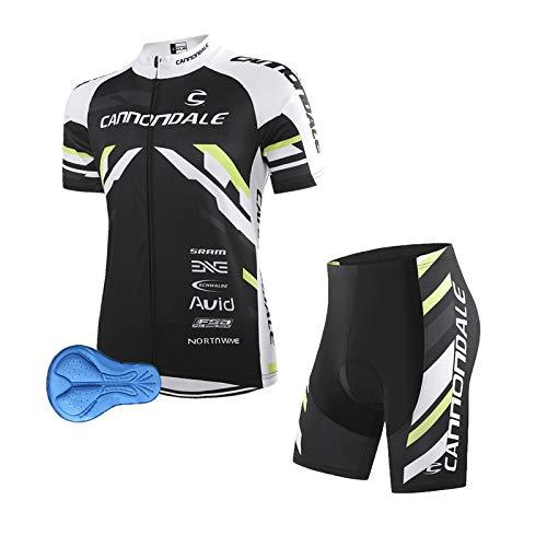 Abbigliamento Ciclismo da Uomo Maniche Corte Completo Bici Completo Ciclismo Estivo con Pantaloncini Imbottiti in 3D Gel Traspirante e ad Asciugatura Rapida (nero, XL)
