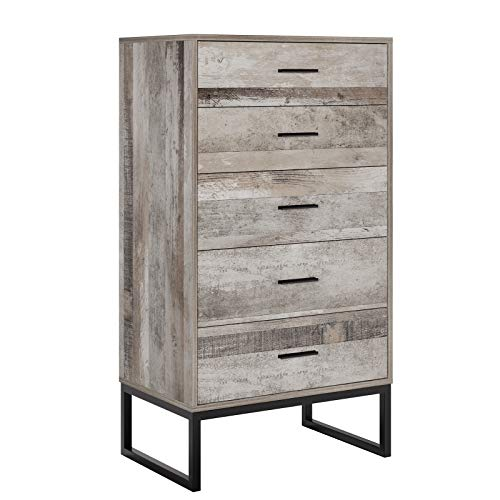 Homfa 5 Drawer Chest, Dresser Cabinet with Wide Storage Space and Steel Legs, Tall Nightstand with Handles, for Hallway Living Room, (42.9H x 23.6W x 15.3D inch)-Assemble Needed