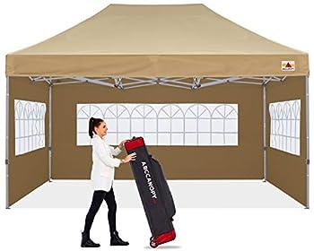 ABCCANOPY Ez Pop Up Canopy Tent 10x15 with Church Window Sidewalls Party Tent-Series,Beige