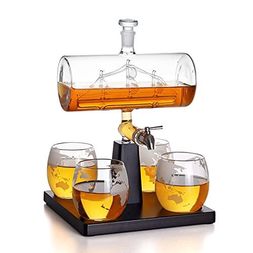 Forma De Bote De 1000ml Decantador De Whisky Fijado Con 4 * Copa De Vino Tinto, Decantador Para Whisky Ron Vino Espíritu Licor, Mejores Regalos Para Padre Y Esposo