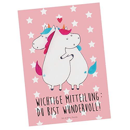 Mr. & Mrs. Panda Einladung, Geschenkkarte, Postkarte Einhorn Mitteilung mit Spruch - Farbe Rot Pastell