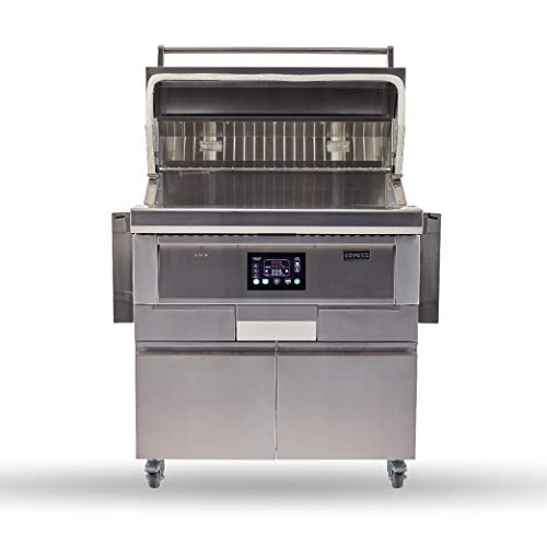 Coyote 36 Inch Freestanding Pellet Grill on Cart, Stainless Steel, Intuitive Digital Touch Control - C1P36-FS