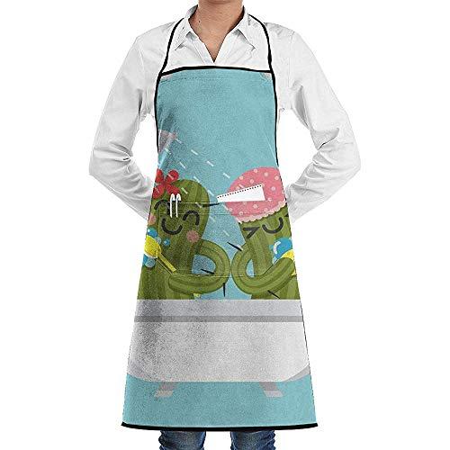 Balance-Life Cartoon Badekaktus verstellbare Latzschürze mit 2 Taschen Kochküche Schürzen für Frauen Männer Chef-DH-GK