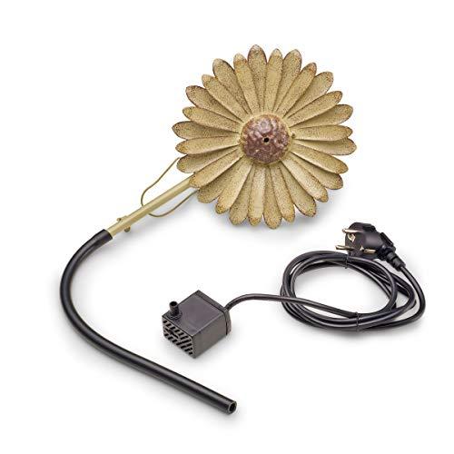 AQUANIQUE Speier Set Gänseblümchen grau SSDW 200i, Wasserspiel, Wasserspeier aus Metall mit Pumpe, 200 l/h, 1,5m Kabel, Gartendekoration
