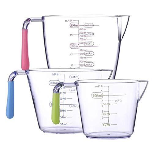 Vaso Medidor de Plástico, Juego de Jarras Medidoras, Vasos Medidores 200 ml 400 ml 900 ml, Jarra Medidora Transparente, para la Medición de Horneado en la Cocina Casera, 3 Unidades de Escala