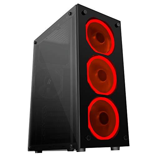 Mars Gaming MCG Red, caja PC ATX, cristal templado, 3 ventiladores LED Rojo,