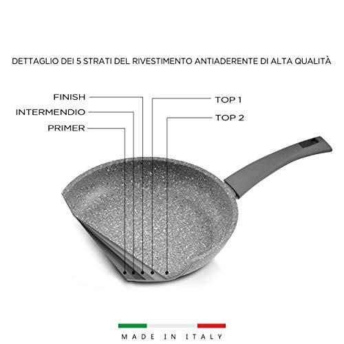 Mopita Roca Viva Wok antiadherente Ø 28 cm Sartén para todo tipo de fuegos (no inducción) multicapa antiadherente, revestimiento de 5 capas antiarañazos, mango Soft Touch, fabricado en Italia