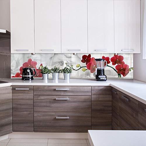 wandmotiv24 Küchenrückwand Kirschblüte Rot Weiß Pflanze Hintergrund 240 x 50cm (B x H) - Acrylglas 4mm Nischenrückwand, Spritzschutz, Fliesenspiegel-Ersatz, Deko Küche M1148