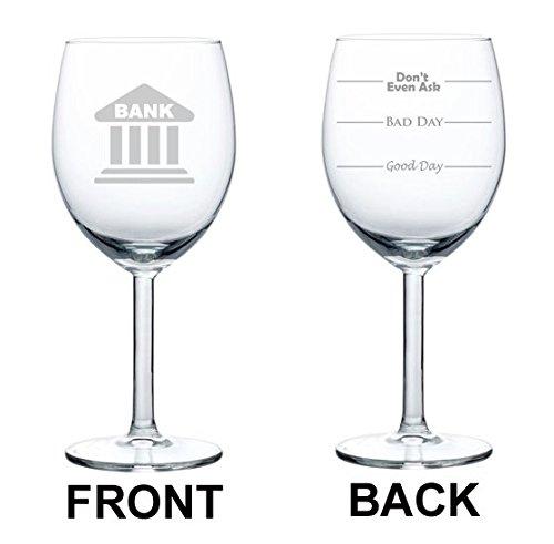 Wijnglas beker twee zijdige goede dag slechte dag niet eens vragen Bank Banker Teller Manager Lening Officer 10 oz Glas