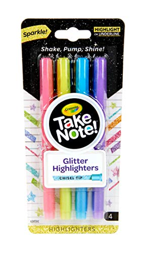 Crayola Take Note Glitter Highlighters, Assorted Colors, School Supplies, 4 Count