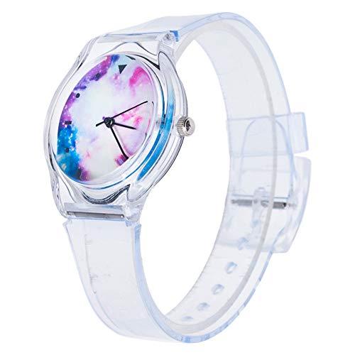 KingbeefLIU Reloj Unisex Jelly Color Fruit Dial Redondo Correa Transparente Reloj De Pulsera De Cuarzo Analógico Blanco