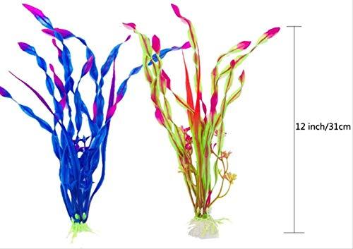BEARUN Künstliche Wasserpflanzen, Aquarienpflanzen, künstliche Fischtanks, dekoriert mit Harz und Plastikornamenten, künstliche Plastikpflanzen des Aquariums zur Dekoration der Aquarienlandschaft - 3