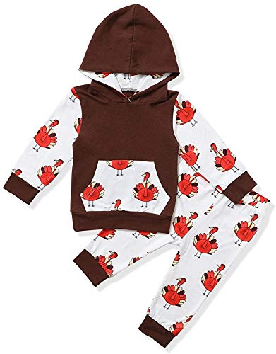 Thanksgiving Newborn Baby Boy Girl Clothes Turkey Long Sleeve Hoodie Top with Pant 2Pcs Outfit Set