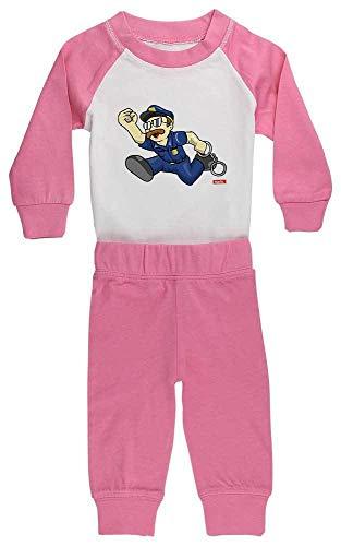 HARIZ Baby Pyjama Polizist Handschellen Rennen Polizei Lustig Plus Geschenkkarten Pink/Fuchsia 18-24 Monate
