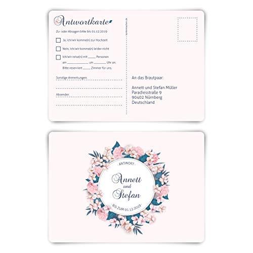 40 x Hochzeit Antwortkarten individueller Text DIN A6 Postkarte - Blumenromantik