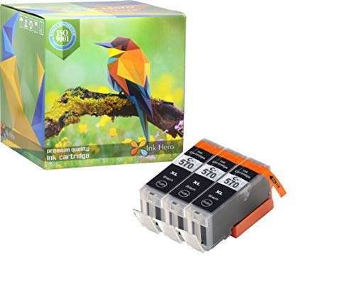Ink Hero – Cartucho de tinta refabricado para usar en lugar de Canon 571XL, 570XL (Pigmento negro, pack de 3)