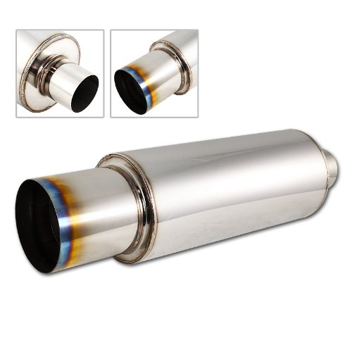 "HK5 Motors Univeral 4"" N1 Burnt Tip Stainless Steel Muffler Weld on Exhaust 2.5"" Inlet"