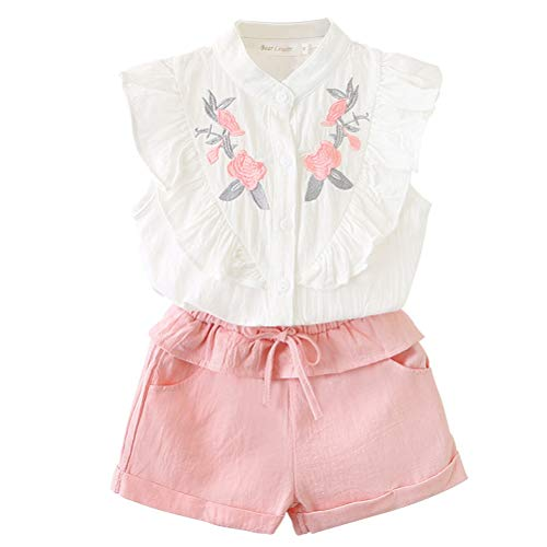 DELEY Zomer Kinderen Baby Meisjes Mouwloos Blouse T-Shirt +Katoen Shorts Set Kinderen Outfit