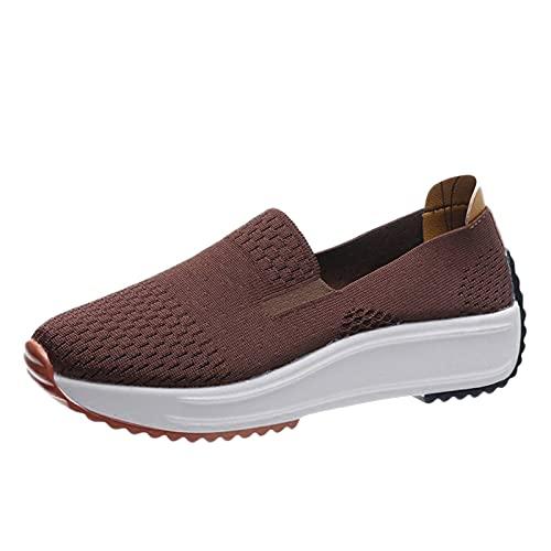 Zapatillas Mujer Casual Deportivas Caminar para Mujer/Hombre,Transpirable Zapatos de Running Sneakers Ligeras Zapato,Zapatos de Cuña con Plataforma(F02_Brown,37)