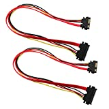 E-outstanding Slimline Sata Extension Cord 2PCS 50cm 22Pin(7+15) Male Plug to 22Pin Female Jack SATA Serial Data Power Combo Extension Cables