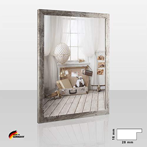 1a Bilderrahmen Orion Weiss Shabby Chic Vintage 50 x 70 cm kantig Puzzle modern stabil eckig hochwertig preiswert mit klarem Kunstglas