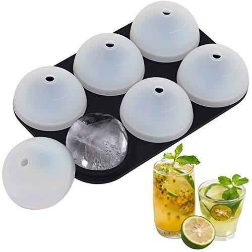 Stampo per cubetti di ghiaccio in silicone, stampo per cubetti di ghiaccio approvato dalla FDA, stampo per cubetti di ghiaccio riutilizzabile senza BPA, 6 palline di whisky e altre bevande