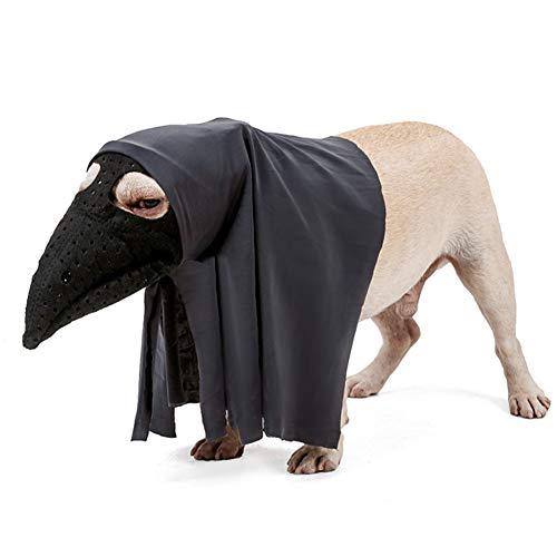 AZXAZ Halloween perro bozal con capa de fieltro negro traje de Halloween conjunto para mascotas perro fiesta Cosplay transpirable boca cubierta y capa decoración de Halloween (S)