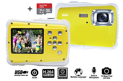 Anan Kinderkamera Wasserdicht mit 16 GB Speicherkarte - Digitalkamera für Kinder ab 4 Jahren - 12 Megapixel Fotoqualität, Unterwasserfunktion, und Stoßfestes Gehäuse.
