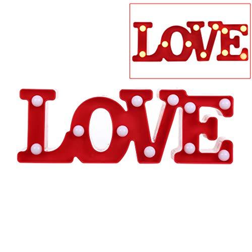 Creative Love Shape, decoratieve plafondlampen, warm wit, LED-decoratielicht, 2 x AA-batterijen, feest, festival, tafel, bruiloft, licht, nachtlampje, rood