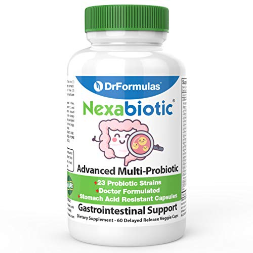 DrFormulas' Best Probiotics for Women & Men | Nexabiotic Multi Probiotic with Saccharomyces Boulardii, Lactobacillus Acidophilus, B. infantis, Prebiotic 60 Count Capsules (Not Pearls)