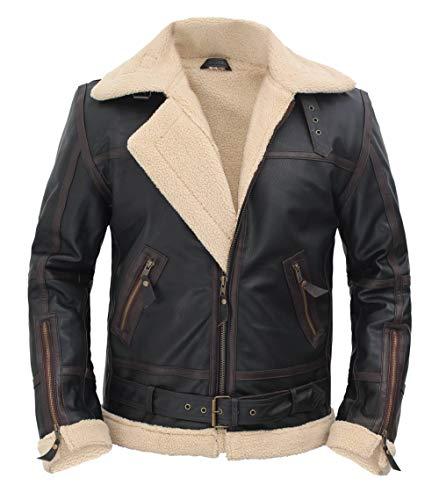 Blingsoul Men's Shearling Jacket Brown Leather Swedish Bomber Jacket | [1105494] Alexander Brown, L