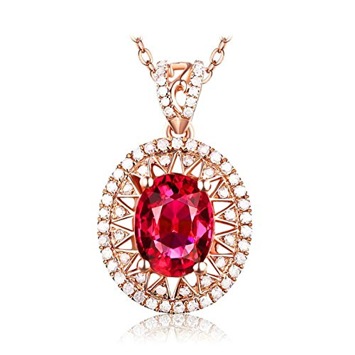 Dreamdge 18K Gold Necklace Sun Oval Ladies Necklaces, 3ct Vivid Red Pigeon Blood Ruby Clear Diamond Pendant Necklace