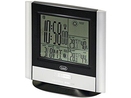 Trevi radiogestuurde wekker en weerstation met externe sensor in zwart en zilver, rug, 13.3x3.5x17 cm