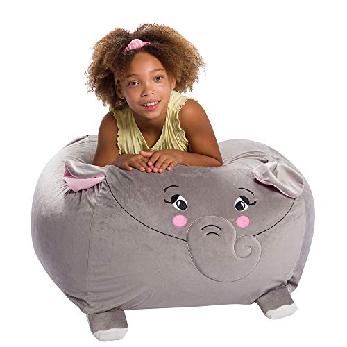 Posh Creations Stuffed Animal Storage Bean Bag Chair Cover Only Toy Holder and Organizer for Kids, Large-24 inch, Elephant - Gray