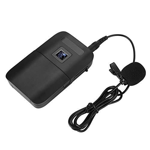 Vbestlife Lavalier Micrófono Inalámbrico VHF Micrófono Portátil con Clip de Solapa con Transmisor Receptor 2 Canales Pantalla LED Compatible con Audio, Amplificador