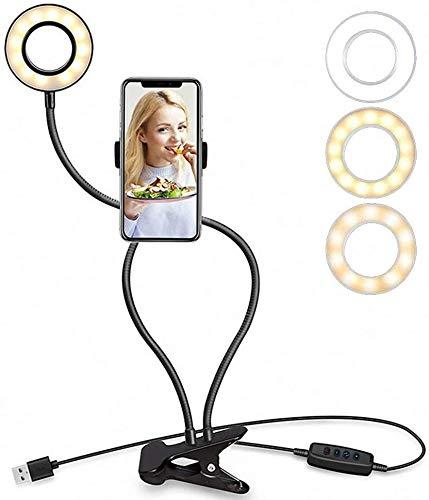 AnQna Clip de Lectura de luz LED de luz de la lámpara del Anillo con Soporte del teléfono, 12W USB lámpara de la Belleza con los 3 Modos de Color, 10 ajustes de Brillo, Giratorio Manguera