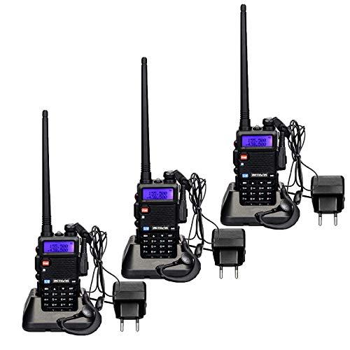 Retevis RT5R Walkie Talkie Doble Banda, Radio Bidireccional FM 128 Canales Largo Alcance, Radio Portátil Profesional de Mano para Seguridad, Caza (Negro, 3 Piezas)
